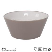 Tazón de cerámica de 13.6cm fuera gris interior blanco