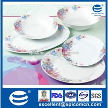 Resistente al calor 20pcs fino porcelana real, vajilla de cerámica porcelana redonda conjuntos con diseño de flor real y elegante