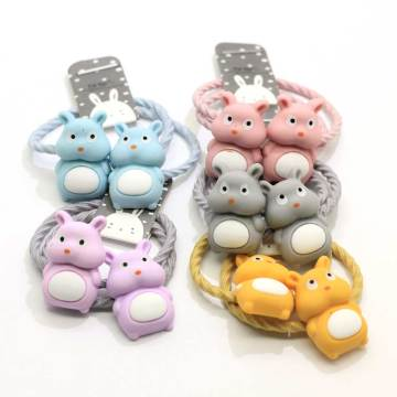 Cute Hair Colorful Elastics Ponytail Holder Pastel Colors Resin Cartoon Bear Headband And Hair Cliy For Baby Toddler Girl