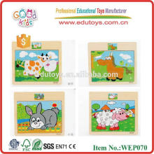 OEM 12 Pieces Mini Cut Animal Puzzle Wooden Jigsaw Puzzle