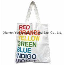 Personalizado impressão em cores branco algodão lona compras sacola