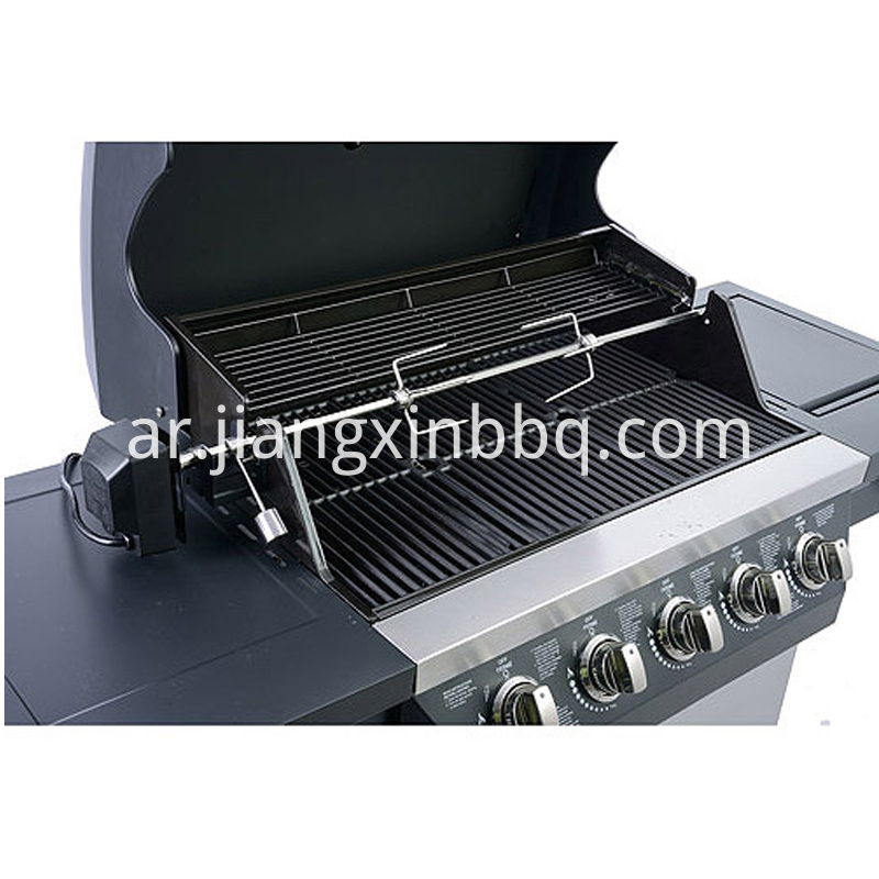 5 Burners Propane Gas Bbq Grill Opening Lid View