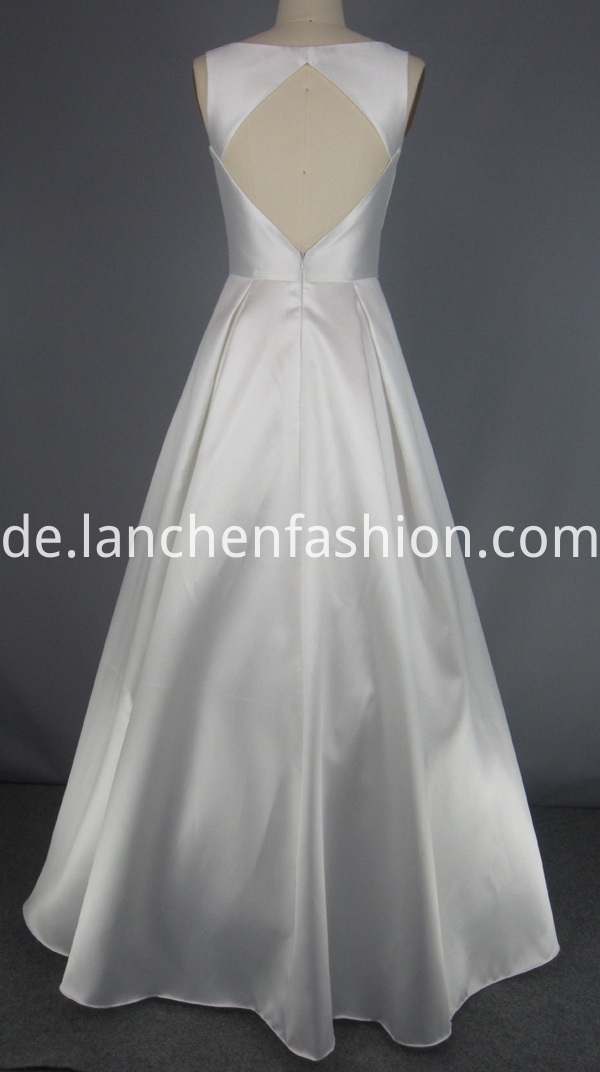 White Deep V Prom Dress