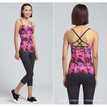 Lady Clothing Custom Digital Printing Stringer Yoga Tank Top