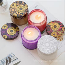 Glass Colorful Candle Jars with Flower Patter Surface
