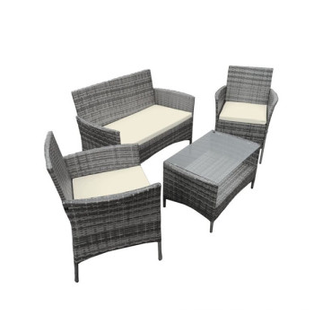 Ensemble de table de jardin Grey 4PCS Rattan Garden