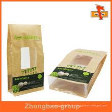 Tragbare Fenster quadratische Boden Papiertüte für Lebensmittel Verpackung
