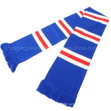 Рекламный трикотажный акриловый синий белый футбольный шарф
