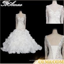 Tiamero French shinny en dentelle manches longues sur robe de hanche en forme de perles robe de mariée robe de fête avec bandage clousure