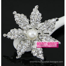 crystal leaf jewelry brooch