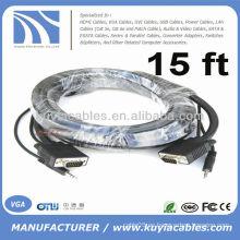 VGA de 15pin SVGA con el cable audio estéreo del cable de 3.5mm para PC TV