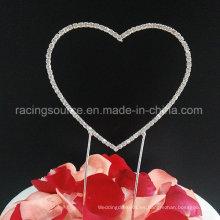Corazón único del corazón del Rhinestone de la torta de boda del corazón del renacimiento