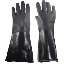 NMSAFETY revestimiento de interbloqueo de acabado de arena imitación de algodón negro doble inmersión PVC guantes de invierno