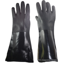 NMSAFETY sandy finish interlock liner counterfeit cotton black double dip PVC winter gloves