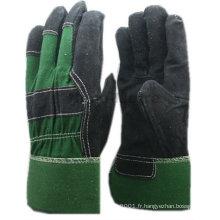 Gants NMSAFETY en cuir noir avec dos en coton vert