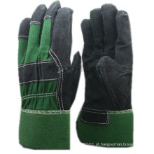 Luvas de couro preto apertadas NMSAFETY com algodão verde de volta