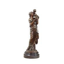 Женские украшения бронзовая скульптура крытый Арт-мама-сын Латунь статуя ТПЭ-517