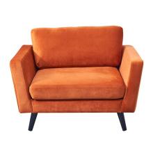 Nordic Moden Furniture Arm Chairs Living Room Modern Orange Velvet Upholstered Single Sofa