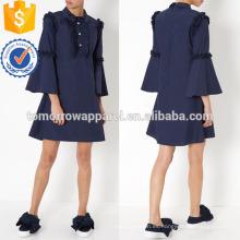 Vestido de mangas acampanadas de la marina de guerra fabricación de prendas de vestir al por mayor de la moda de las mujeres (TA4080D)