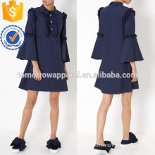 Navy Flared Sleeve Dress Manufacture Wholesale Fashion Women Apparel (TA4080D)