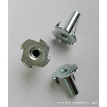 Full thread Zinc Plating 4 Prongs Tee nuts