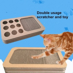 Good Quality Cnc Router price for Luxury Straight Panel Cat Scratching Board Cardboard cat toy box with holes export to French Southern Territories Manufacturers