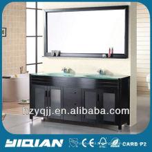 Banheiro Pavimento em pé Espresso Pintura de acabamento Modern Double Sink Tempered Glass Top Sólido em madeira Casa de banho Vanity Unit