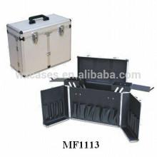 caja de herramienta aluminio peluquería con 2 bandejas interior