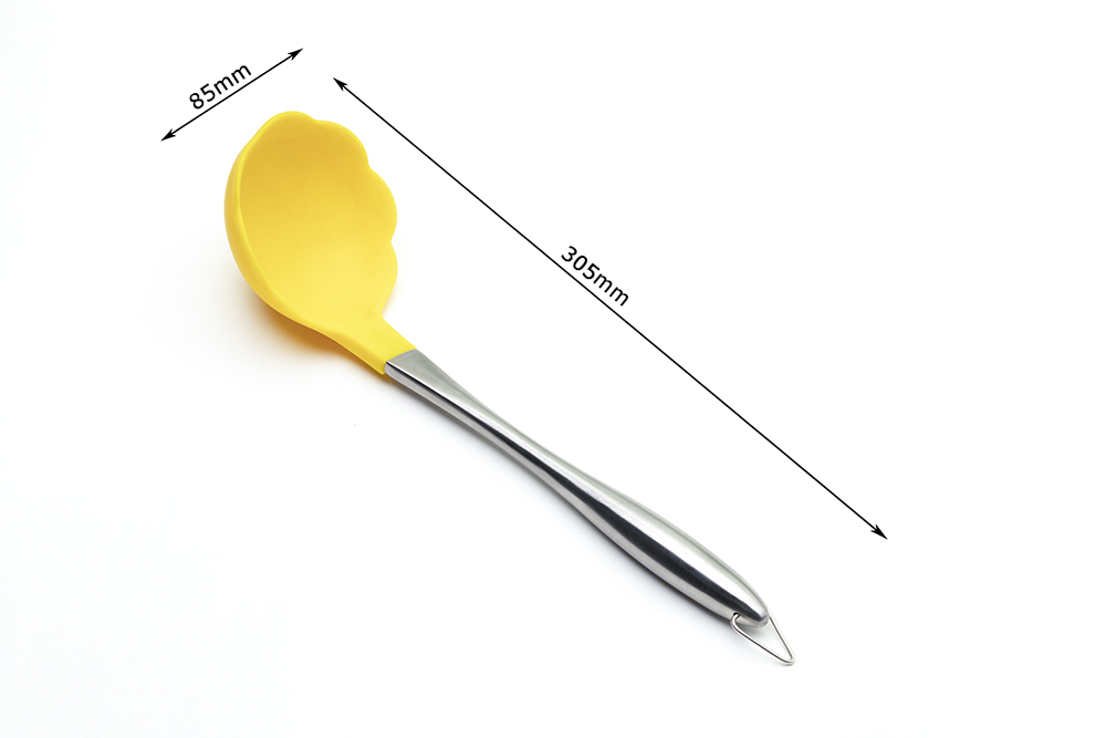 stainless steel handle silicone soup ladle