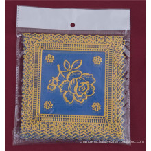 12.5*12.5cm Square Shape Blue Gold PVC Lace Tablemat Cheap Factory Wholesale