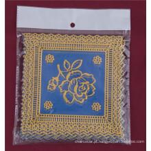 12.5 * 12.5 cm Quadrado Azul Ouro PVC Lace Tablemat Fábrica Barato Por Atacado
