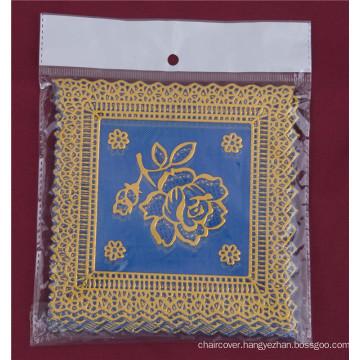 12.5*12.5cm Square Shape Blue Gold PVC Lace Tablemat Cheap Factory Wholesale