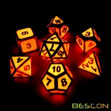 Bescon Super Glow in the Dark Metal Polyhedral Dice Set Golden and Rose, Luminous Metallic RPG Role Playing Game Dice 7pcs Set