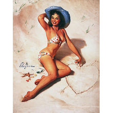 Винтажный плакат с девушкой на пляже