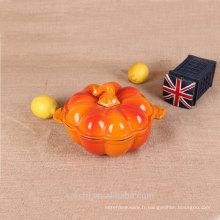 Vente en gros émaillé en fonte mini-taille Potiron en forme de citrouille