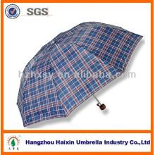 Guarda-chuva barato da dobra do poliéster 3 do tamanho do guarda-chuva do projeto padrão da verificação