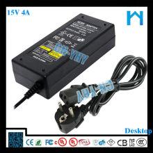 La mejor calidad para la impresora 3d 15v 4a tipo de escritorio adaptador de corriente 60w