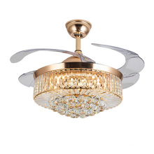 Modern Luxury Design Crystal Living Room Chandelier Invisible Ceiling Fan With Lights