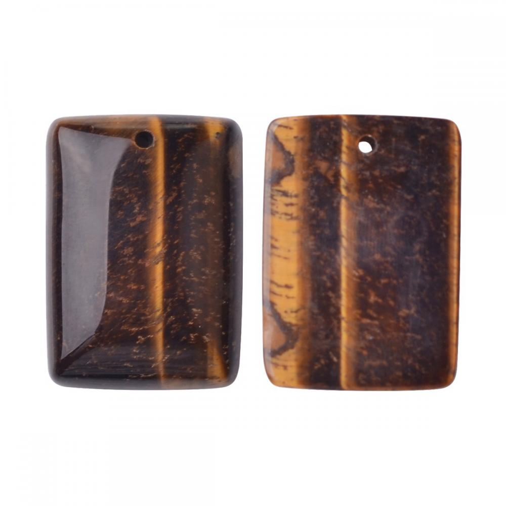 Natural Tiger Eye Men Healing Rectangle Gemstone Pendant Necklace
