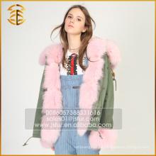 De largo de estilo grueso chaqueta real de las mujeres de invierno Fox Fur Parka