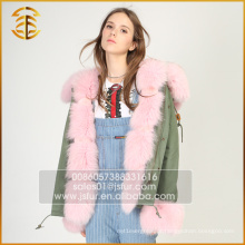 Mais recentes jaquetas de design novo Fox Coat Women Faux Fur Parka