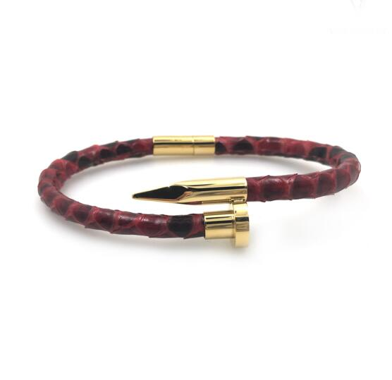 High Quality Genuine Snake Leather Nail Bracelet Bangle
