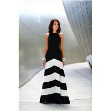 Blanco y negro rayas sin mangas vestido de fiesta casual