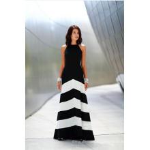 Robe de soirée à manches courtes et rayées en soie et noir et blanc