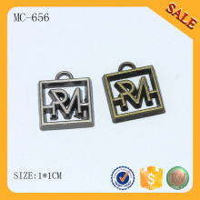 MC656 custom small square metal logo jewelry tags with engraved letters for bracelet