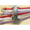 Elegant Stainless Steel Ladies Leather Band Watches with Crystal