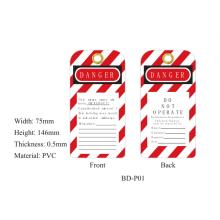 BOSHI etiqueta durable de la seguridad de la etiqueta de la etiqueta del PVC BD-P01, 75 * 146 * 0.5mm