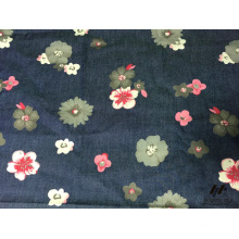100% Cotton Color Printed Denim Flower