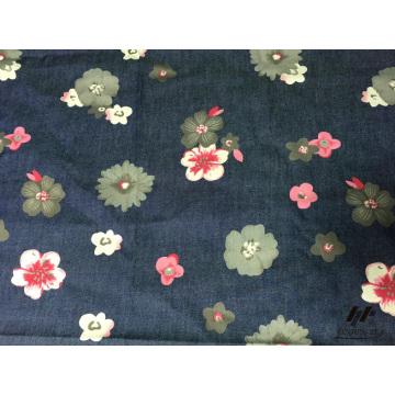 100% Cotton Color Printed Denim Flower