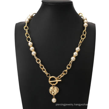Vintage Baroque Irregular Pearl Choker Necklace 2020 Geometric Metal Pendant Link Chains Necklaces Jewelry